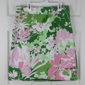 Talbots Pink Green White Floral Skirt Sz. 6P